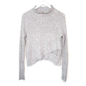 Free People gray wrap mock neck knit sweater XS